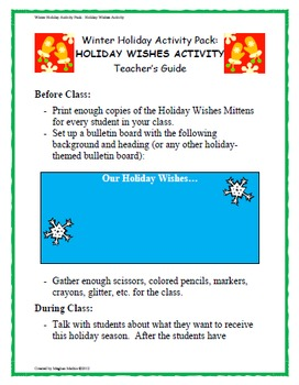 Winter Holiday Activity Pack - Holiday Wishes Activity