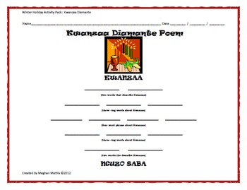 Winter Holiday Activity Pack - Kwanzaa Diamante Poem Activity