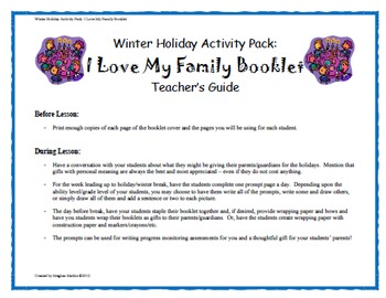 Winter Holiday Activity Pack - My 'I Love My Family' Book Activity