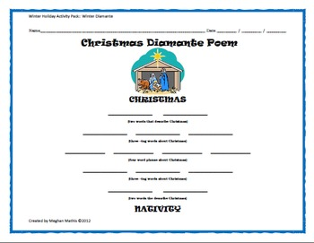 Winter Holiday Activity Pack - Religious Christmas Diamante Poem Activity