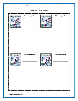 Winter Holiday Activity Pack - Season's Greetings Classroom Activity