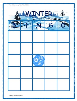 Winter Holiday Activity Pack - Winter BINGO