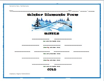 Winter Holiday Activity Pack - Winter Diamante Poem Activity