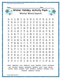 Winter Holiday Activity Pack - Winter Word Search