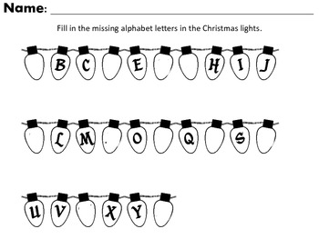 Winter Holiday Alphabet Packet and more...