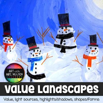 Winter Holiday Art: Value Landscapes