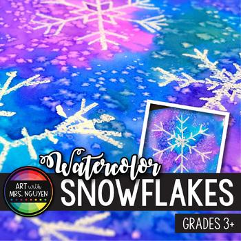 Winter Holiday Art Lesson: Watercolor Resist Snowflake Paintings
