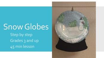 Winter Holiday Christmas Snow Globe kids project snowglobe template art plastic