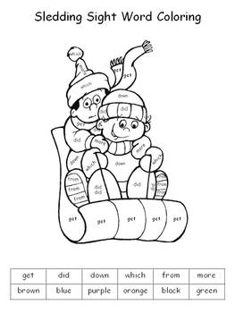 Winter Holiday Color By Sight Words By Klever Kiddos Tpt