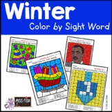 Winter Holiday Color by Sight Word (December & January)