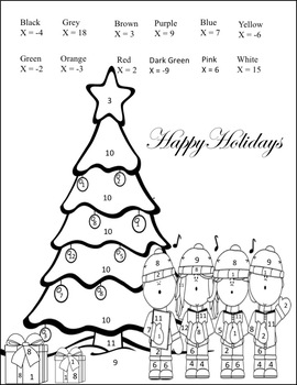 Solving Equations Activity {Christmas} {Worksheet} {One and Two Step Coloring}