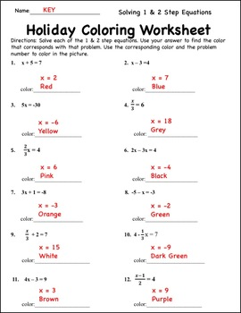 Solving Equations Christmas Coloring Activity Distance ...