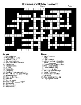 Winter Holiday Crossword and Word Search with KEYS