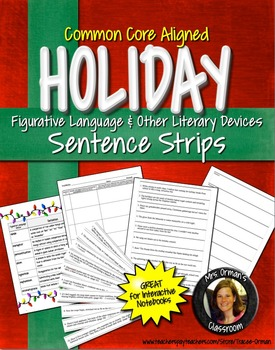 Winter Holiday Figurative Language Sentence Strips NO PREP