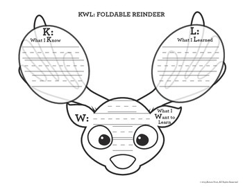 Winter Holiday Freebie:  Foldable Reindeer KWL