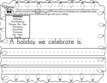 Winter Holiday Fun for K-1 Writing, Math and More Ready to Print & Use