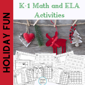 Christmas Holiday Activities Kindergarten and First Grade Writing and Math