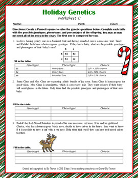 Winter Holiday Genetics Punnett Square Worksheet FREEBIE by Elly Thorsen