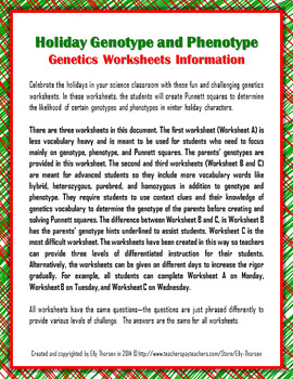 Winter Holiday Genotype and... by Elly Thorsen | Teachers Pay Teachers