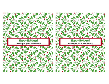 Winter Holiday Hershey Wrappers