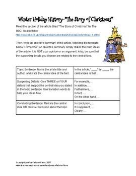 Winter Holiday History Objective Summary Activities