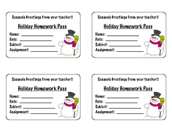 Winter Holiday Homework Passes