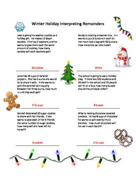 Winter Holiday Interpreting Remainders Worksheet