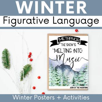Winter Holiday Literary Device Posters: Winter Christmas Holiday ELA Cheer!