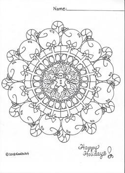 Winter (Christmas) Mandala Coloring Page