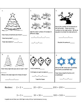 Winter Holiday Math 1st & 2nd grades * Adding Doubles, Word Problems,