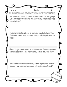 Winter Holiday Multiple Step Story Problems - Multiplication and Division