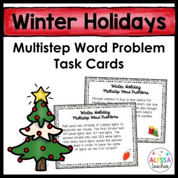 Winter Holiday Multistep Word Problem Task Cards (Grade 4)
