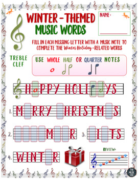 Winter Holiday Music Activity Letter Music Note Fill Ins Treble B Clef