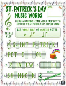 St Patricks Day Letter Music Note Fill Ins Treble Bclef