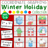 Winter Holiday Mystery Pictures: Coordinate Graphing (4 Qu
