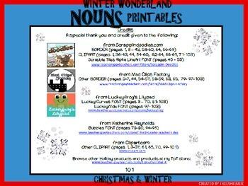 Winter Holiday NOUNS Printables (K-3)