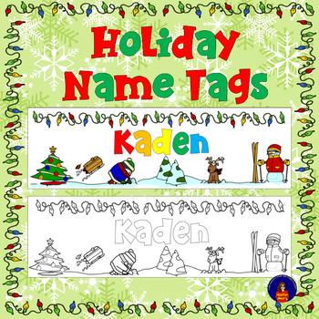 Winter Holiday Name Tags  - Editable