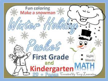 Winter Holiday Packet First Grade and Kindergarten.