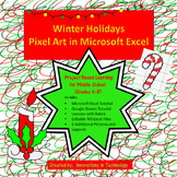 Winter Holiday / Christmas Pixel Art in Microsoft Excel or Google Sheets