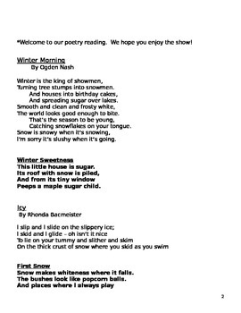 Winter Holiday Poetry Reading Script