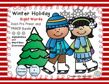 Winter Holiday Pre Primer and PRIMER 1/2 Sheet Exercises