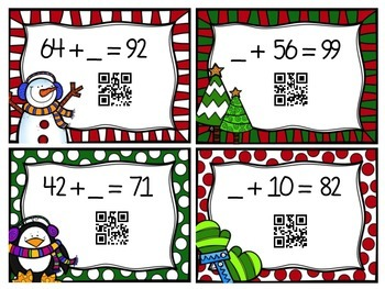 Winter/Holiday QR Addition & Subtraction Bundle
