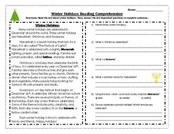 Winter Holiday Reading Comprehension Passage and Questions