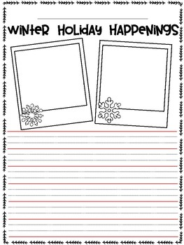 Winter Holiday Recount Writing Template FREEBIE!
