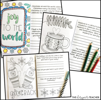 Winter Activity Holiday Reflection and Coloring Pages Journal