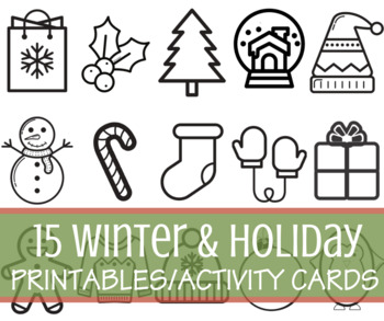 15 Winter/Holiday/Seasonal Simple Black Line Activity Sheets