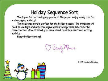 Winter Holiday Sequence Sort
