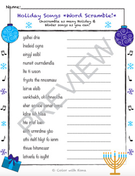Winter Holiday Songs Puzzle BUNDLE