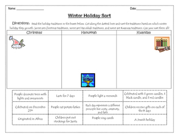 Winter Holiday Sort- Christmas, Kwanzaa, and Hanukkah