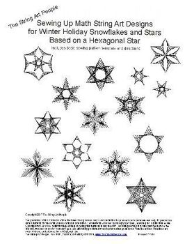 Winter Holiday String Art Designs based on a hexagonal star